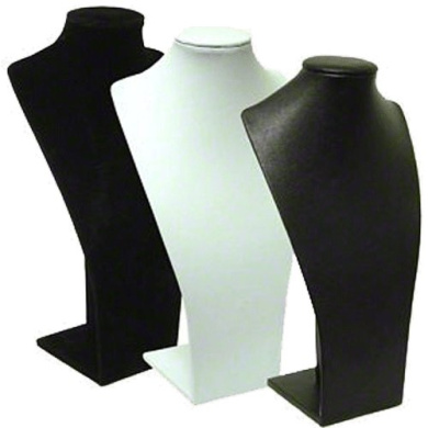 Long Bust Necklace Display, White Leatherette
