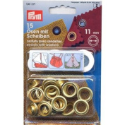 PRYM 541371 Eyelets with washers Size 11mm inside; gold-coloured, 15 pieces