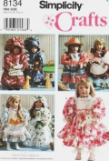 SIMPLICITY 8134 ~ Beautiful 46cm Doll Clothes Sewing Pattern ~ Many items & styles ~ American