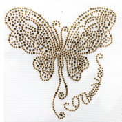 Rhinestone Iron on Transfer Hot Fix Butterfly Decor Gold 3 Sheets 5.3* 8.9cm