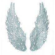 Rhinestone Iron on Transfer Hot Fix Motif Lt Blue Angel Wings Decor Design 3 Sheets 5.1* 14cm