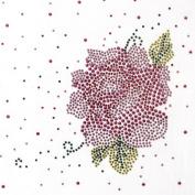 Rhinestone Iron on Transfer Hot Fix Motif Rose Flower Deco Fashion Design 3 Sheets 7* 17cm