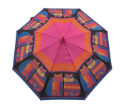 Laurel Burch Stick Umbrella 110cm Canopy Auto Open-Rainbow Cat Cousins