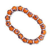 Jewish Jewellery, Woman Bracelet, Orange with White Evil Eye Design and Swarosky Crysrals Inlay. Great Gift for