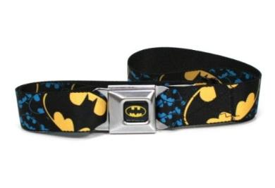 Batman Full Colour Black/Yellow Seatbelt - Bat Signal Stacked w/Close-Up Blue/Black/Yellow Webbing