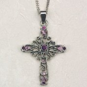 Purple Rhinestone Cross Carded