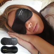 Sleep Mask with Ear Plugs - This Eye Mask Is for Sleeping Anywhere - On Travel - Long Flights - Short Naps - Blocks Light Fully - Helps with Insomnia and Other Sleep Disorders - Super Lightweight - Soft & Comfortable - Wide Strap with Velcro and Earplu ..