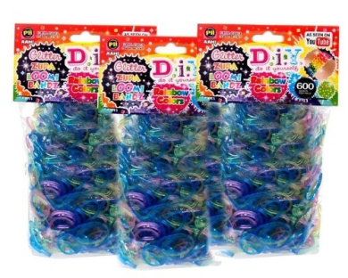 Diy Glitter Zupa Loom Bands Refill Rainbow Colours 1800ct (3 packs x 600ct) with S Clips