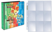 Pokemon X & Y 3-Ring Binder with 25 Platinum Ultra-Pro 9-Pocket Pages (Chespin, Fennekin and Froakie on front, Xerneas and Yveltal on back) 5.1cm XY Album