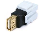 Monoprice 106561 Keystone Jack-USB 2.0 A Female to A Female Coupler Adapter Flush Type, White