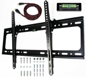 E. Universal Mounts Flush Tilt Dual Hook (3.3cm from wall) Flat Screen TV Wall Mount Bracket for 80cm - 170cm Plasma, LED, and LCD TVs Up To VESA 700x 400 and 70kg, Including 3m Braided High Speed HDMI Cable and Magnetic Bubble Level TV Mount T65