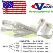 Made in USA Telephone RJ11 6P4C to RJ45 8P8C Connector Plug Cable, 1.8m