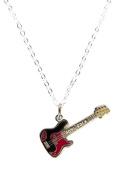 Fashion H2O, Guitar Boys Rock, Silver Polished Enamel Charm Pendant 46cm Necklace 2.5cm Extender Lobster Claw Clasp.