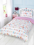 GIRLS TWIN WHITE PINK RELAXING REVERSIBLE HEARTS COTTON DUVET SET QUILT COVER