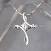 18K White & Rose Gold GP Crystal Rhinestone Infinity Cross Pendant Necklace