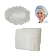 Huini 200pcs Disposable Non-woven Hair Net Cap Mob Elastic Free Size