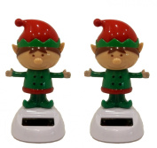 Set of 2 Solar Powered Dancing Christmas Elves
