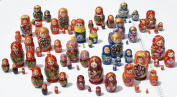 Lot 3 Sets of 5 Cute Nesting Stacking Wooden Dolls Matryoshka Babushka Russian Ethnic Art