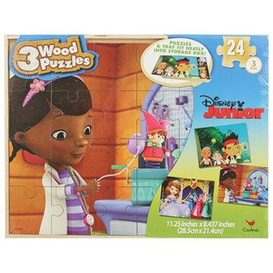 Disney Junior Puzzle Set in Storage Box- Sofia the First, Doc McStuffins, Jake and the Neverland Pirates