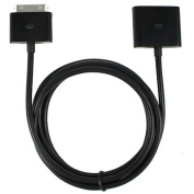 30-pin Male to Female Dock Extender for iPod and iPhone - Black Extension Cable