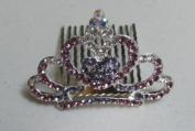 Mini Princess Rhinestone Hair Comb Tiara --- Purple