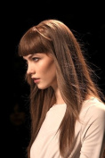 ONE PIECE CLIP IN FRINGE BANGS HAIRPIECE MEDIUM BROWN VERY REAL LOOK