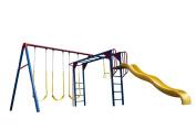 Lifetime Monkey Bar Adventure Swing Set with 2.7m Wavy Slide