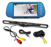 Pyle PLCM7800 18cm Mirror Monitor Backup Camera with Licence Plate Mount and Parking Assist System