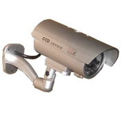 3 Pack - JYtrend (TM) Outdoor Dummy Fake Security Camera with Inflared Leds BLINKING LIGHT, Silver