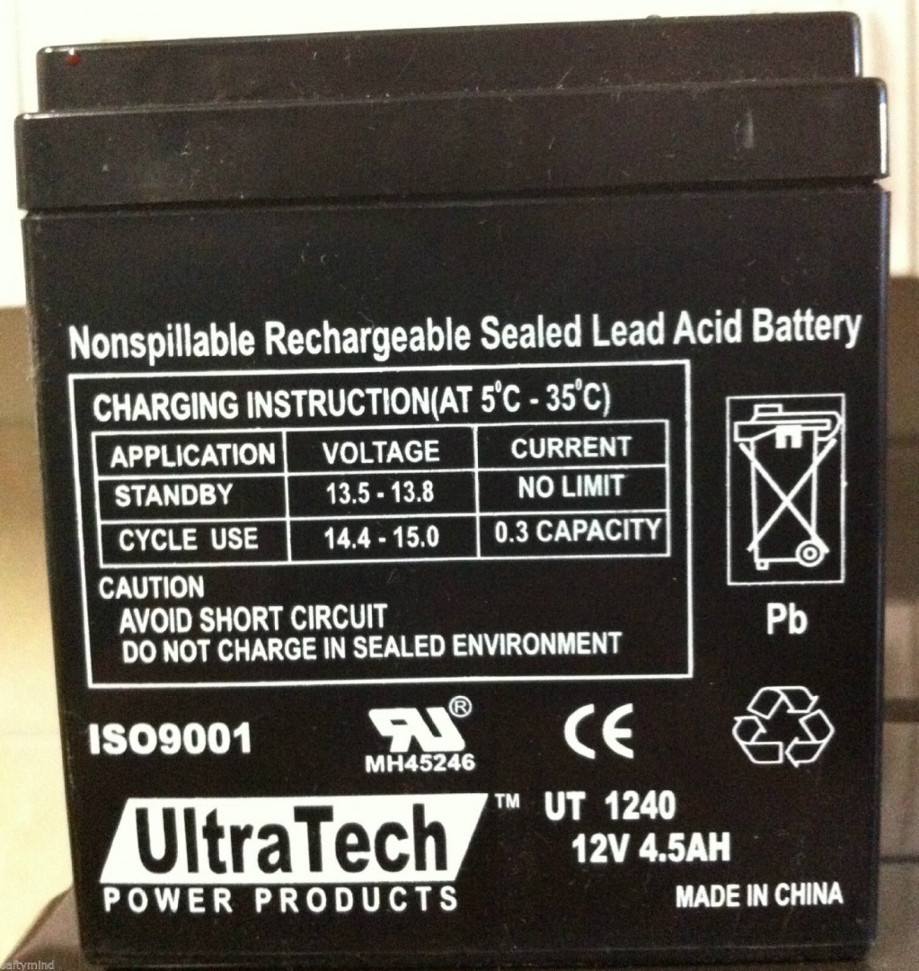 Ultratech Ut 1240 12v 45ah Sealed Lead Acid Alarm Battery Ut1240 Sealedleadacid Charger Circuits Share This Product