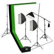 ePhoto Photography Video Studio Portrait Softbox Continuous Photo Video Lighting Kit with Three Softbox,background stand, 10 x 10 Black White Green Muslin, and Carrying Case H94SB21010BWG