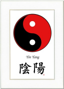 5x7 Yin Yang (Red/Black) and Calligraphy Print with White Mat