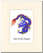 8x10 Year of the Dragon Print in an Antique White Mat