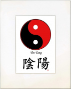 8x10 Yin Yang (Red/Black) and Calligraphy Print with White Mat