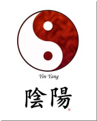 8x10 Yin Yang (Red/White) and Calligraphy Print