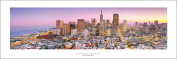 San Francisco Financial District - Golden Gate Bridge Panoramic (Panorama) Art Print Poster