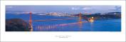 San Francisco Golden Gate Bridge At Night Art Print Panoramic #9 (Panorama) Poster