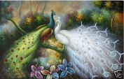100% Hand craft art animal Birds Art oil painting the white and green Peacocks