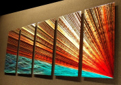River's Edge - 160cm x 60cm Abstract Painting Metal Wall Art sculpture for contemporary decor Sculpture by Nider the Internationally Acclaimed Artist of Modern Contemporary Decor