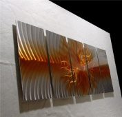 Explosion Amber Gold - Abstract Painting Metal Wall Art sculpture for contemporary decor Sculpture by Nider the Internationally Acclaimed Artist of Modern Contemporary Decor