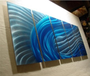 Wave - 160cm x 60cm Original Abstract Metal Painting Wall Art and Sculpture by Nider Internationally Acclaimed Artist of Contemporary Abstract Art for Home or Office Decor with a Modern Feng Shui influence