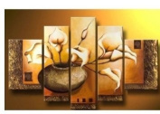 Santin Art - 100% Hand-painted. Wood Framed Wall Art Weak Yellow Lily Bottle Home Decoration Abstract Floral Oil Painting on Canvas 5pcs/set Mixorde