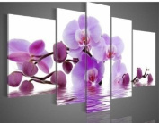 Santin Art -100% Hand-painted. Wood Framed Purple Flowers Water Side Home Decoration Abstract Floral Oil Painting on Canvas 5pcs/set