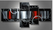 Santin Art - 100% Hand-painted. Wood Framed Red Back Clouds Home Decoration Modern Abstract Oil Painting on Canvas 4pcs/set Mixorde