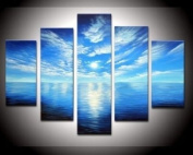 Santin Art-100% Hand-painted. Wood Framed on the Back Artwork Blue Ocean White Clouds Ready to Hang Wall Decor Landscape Oil Painting on Canvas 5pcs/set Mixorde