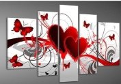 Santin Art - Hand-painted. Wood Framed Oil Wall Art Red Flower Love Butterfly Home Decoration Abstract Landscape Oil Painting on Canvas 5pcs/set