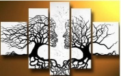 Santin Art - 100% Hand-painted. Wood Framed Wind Floating Tree Home Decoration Landscape Framed Oil Painting on Canvas 5pcs/set Mixorde