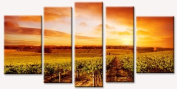 Vintage Green Apple Clock Gift with Vineyard At Sunset Canvas Wall Art Set of 5 Total 35.43 X 70.87 Startonight