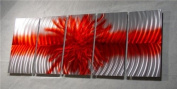 Explosion Red - 160cm x 60cm Abstract Painting Metal Wall Art sculpture for contemporary decor Sculpture by Nider the Internationally Acclaimed Artist of Modern Contemporary Decor