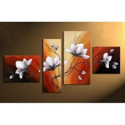 4pics Flower in Full Bloom Abstract 100% Hand Painted Oil Painting on Canvas Wall Art Deco Home Decoration